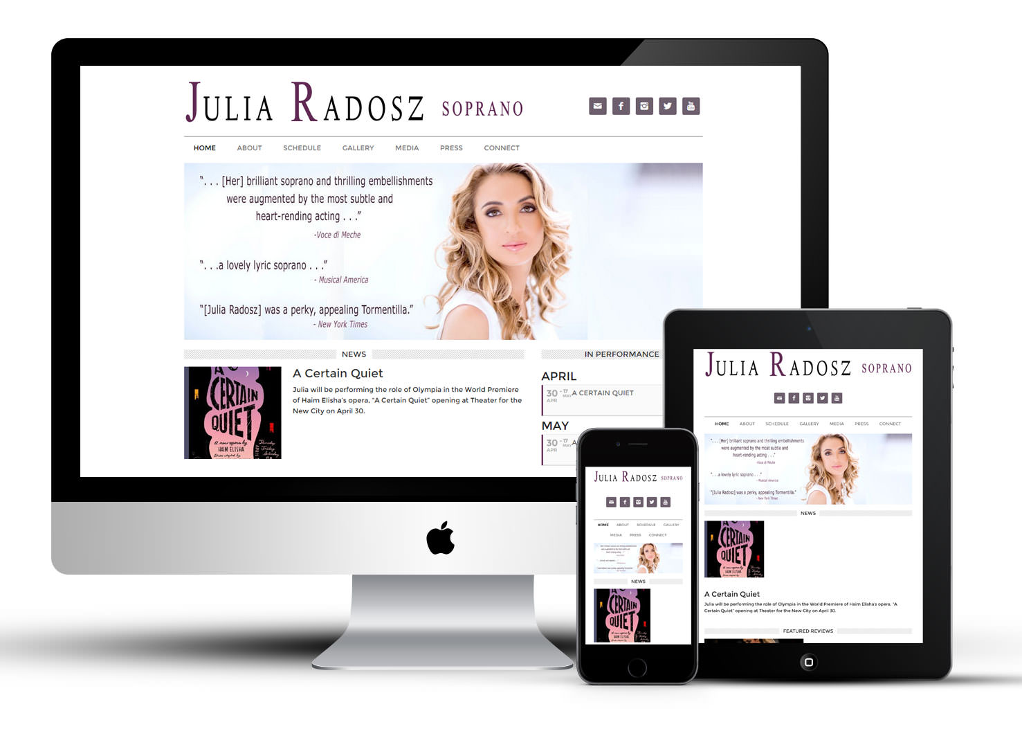 Mobile responsive website for performer/soprano