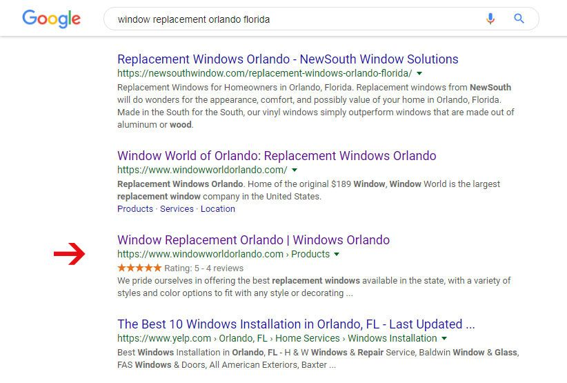 window replacement search results